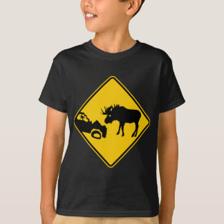 Moose Warning Sign from Gros Morne National Park T-Shirt