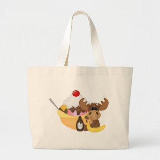Moose with banana spilt tote bags