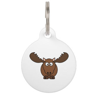 Moose with Big Antlers Pet Name Tag