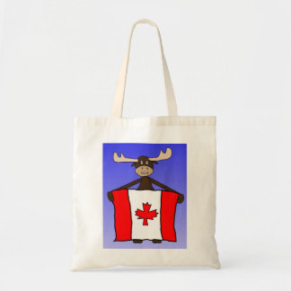 Moose with Canadian flag Canvas Bags