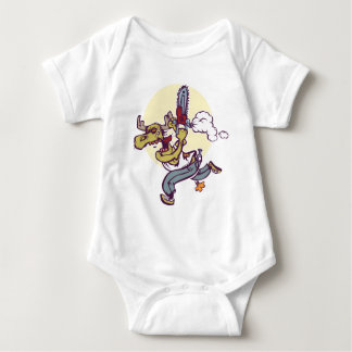 Moose with chainsaw baby bodysuit