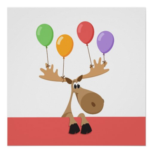 Moose with colourful balloons poster