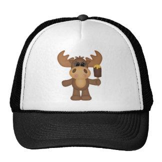 Moose with ice cream trucker hat