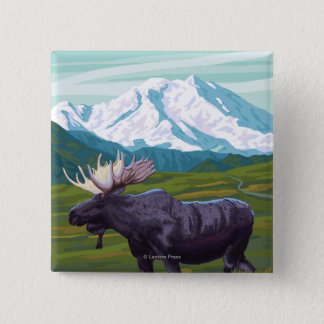 Moose with MountainWyoming 15 Cm Square Badge