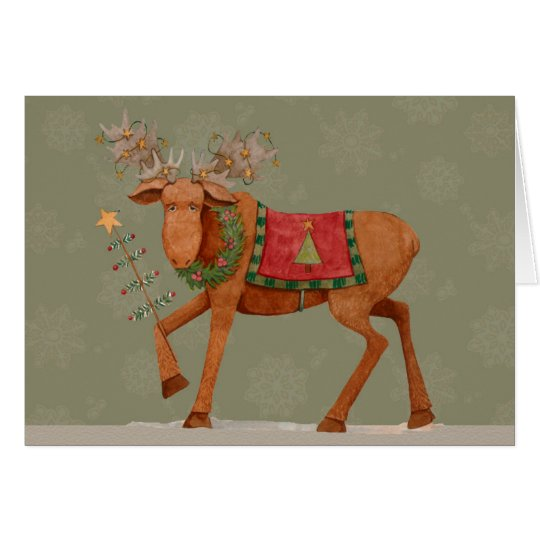 Moose with Tree - Greeting Card