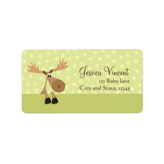 Moose with yellow balloons baby shower label address label