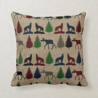 Moose Wolf Pine Tree Rustic Burlap Print Pillow