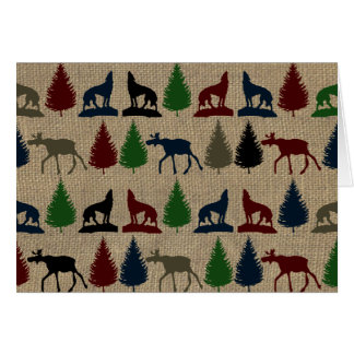 Moose Wolf Pine Tree Rustic Burlap Print Outdoors Card