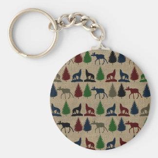 Moose Wolf Pine Tree Rustic Burlap Print Outdoors Key Ring