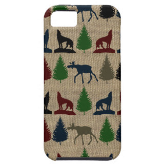 Moose Wolf Pine Tree Rustic Burlap Print Outdoors Tough iPhone 5 Case