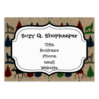 Moose Wolf Pine Tree Rustic Burlap Print Pack Of Chubby Business Cards