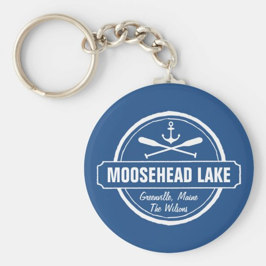 Moosehead Lake Maine anchor custom town and name Basic Round Button Key Ring