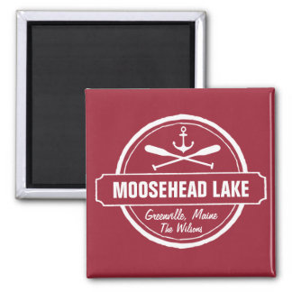Moosehead Lake Maine anchor custom town and name Square Magnet