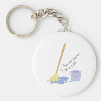 Mop And Bucket Basic Round Button Key Ring