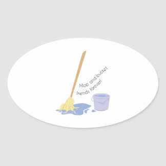 Mop And Bucket Oval Sticker