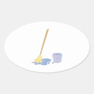 Mop & Bucket Oval Sticker