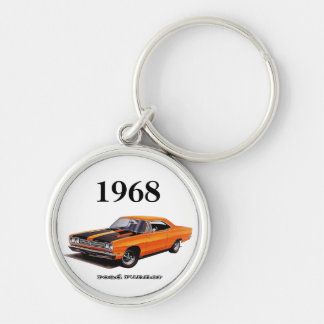 Mopar - 1968 Plymouth Road Runner - Satellite Silver-Colored Round Key Ring