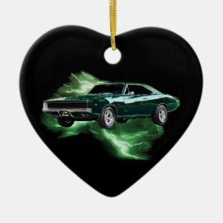 Mopar: '68 Dodge Charger with green lightning Christmas Ornament