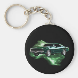 Mopar: '68 Dodge Charger with green lightning Key Ring