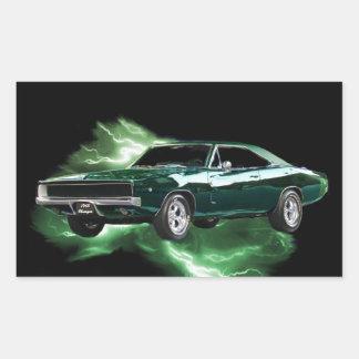 Mopar: '68 Dodge Charger with green lightning Rectangular Sticker