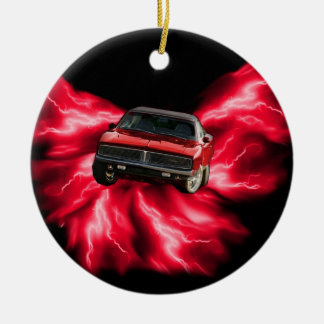 Mopar: '69 Charger on red lightning Christmas Ornament