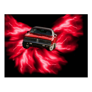 Mopar: '69 Charger on red lightning Postcard