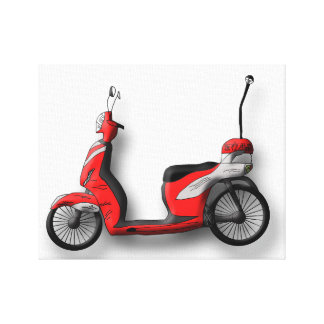 Moped Canvas Stretched Canvas Print