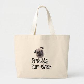"""Mops """"Friends Fur-ever"""" Jumbo Tote Bag"""