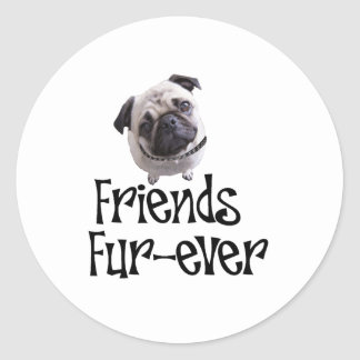 "Mops ""Friends Fur-ever"" Round Stickers"