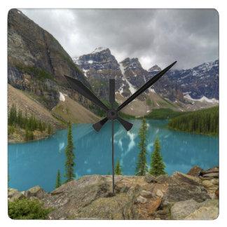 Moraine Lake Alberta Canada Square Wall Clock
