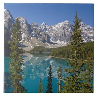 Moraine Lake, Canadian Rockies, Alberta, Canada 2 Large Square Tile