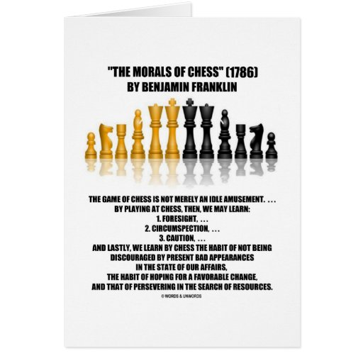 Morals Of Chess Benjamin Franklin Reflective Chess Greeting Cards