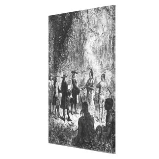 Moravian Missionaries Among the Indians Canvas Print