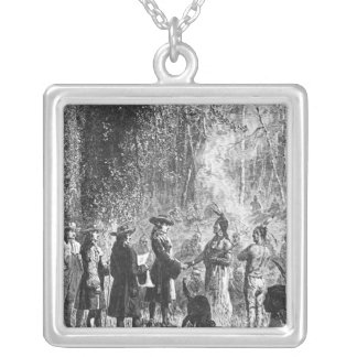 Moravian Missionaries Among the Indians Silver Plated Necklace
