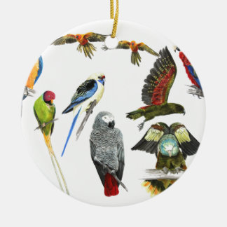 more and more Parrots for all your gifts Round Ceramic Decoration