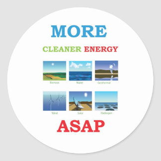 more cleaner energy asap round sticker