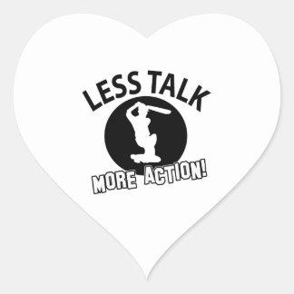 More Cricket less talk Heart Sticker