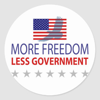 More Freedom Less Government Round Sticker
