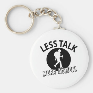 More Hiking less talk Basic Round Button Key Ring
