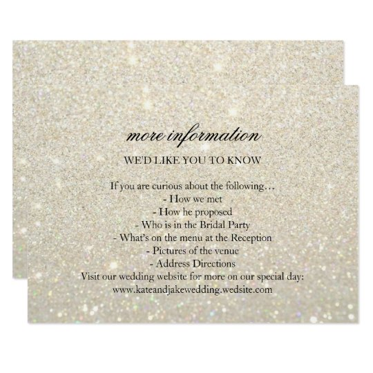 More Info Wedding Card - White Gold Glit Fab
