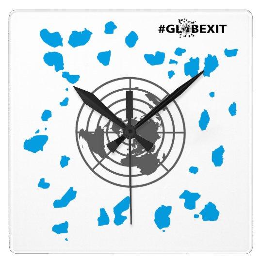 MORE LAND #GLOBEXIT Square Clock