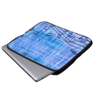 more music blue laptop computer sleeves