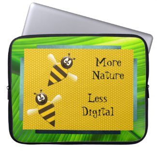 More Nature Less Digital Bees & Honeycomb Laptop Sleeve