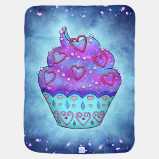 More nicely blue/pink Cupcake with pink sweet Baby Blankets