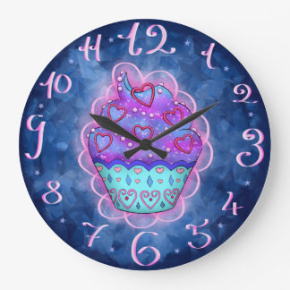 More nicely blue/pink Cupcake with pink sweet Large Clock