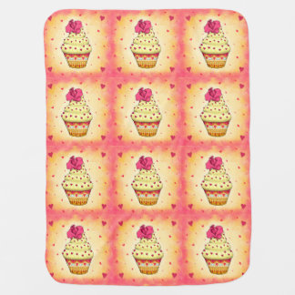 More nicely yellow and pink Cupcake with rose and Pram blanket