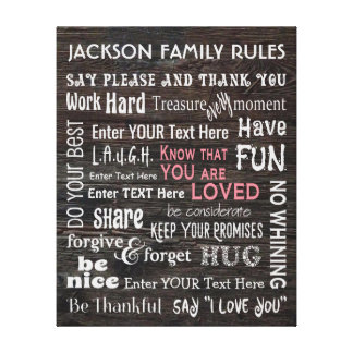 """More Personalized """"Family Rules"""" Canvas Print"""