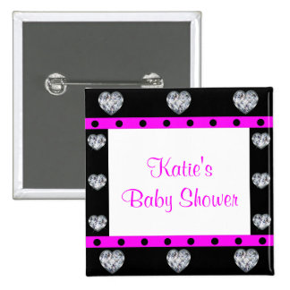 More Precious Than Diamonds Girly Baby Shower Pinback Button