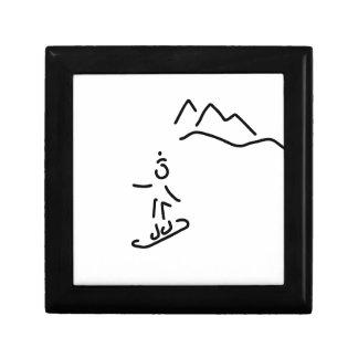 more snowboarder ski-drive winter sports small square gift box