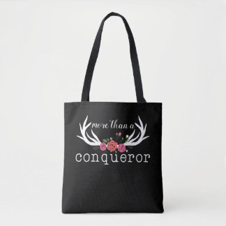 More Than a Conqueror Roses and Antlers Tote Bag